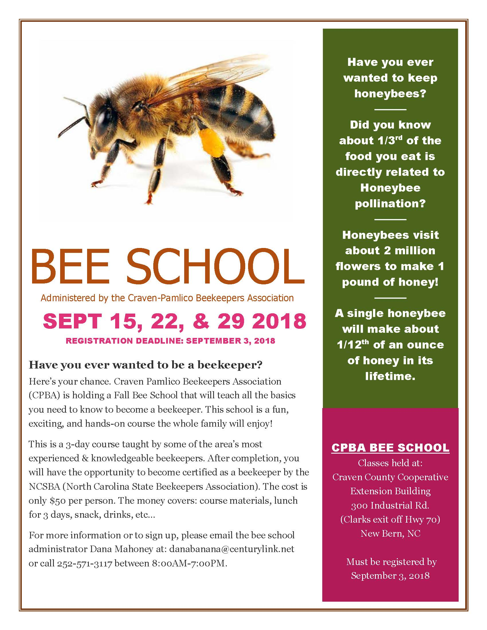 Craven-Pamlico Beekeepers Association Bee School