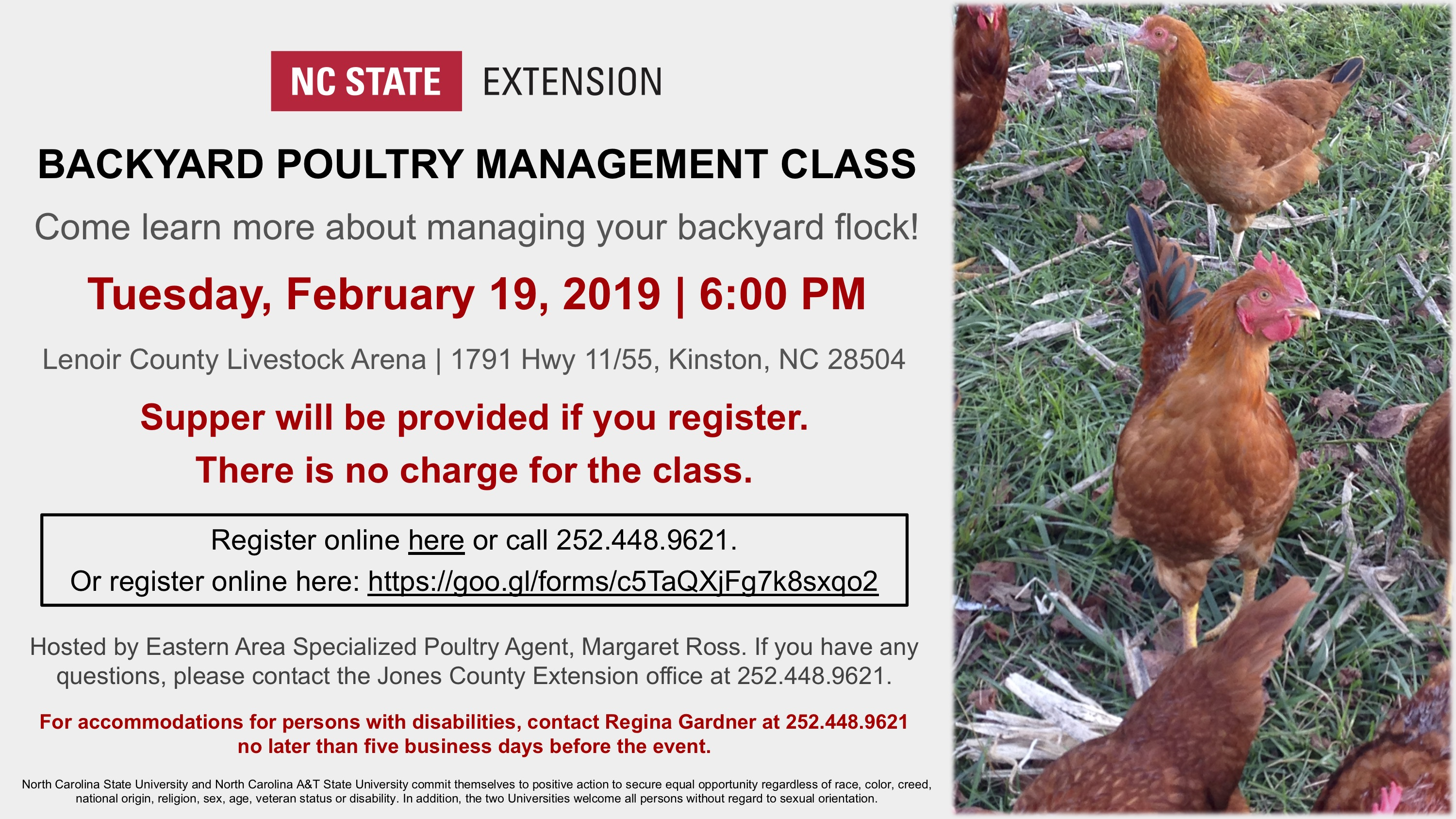 Backyard Poultry Management Class flyer image