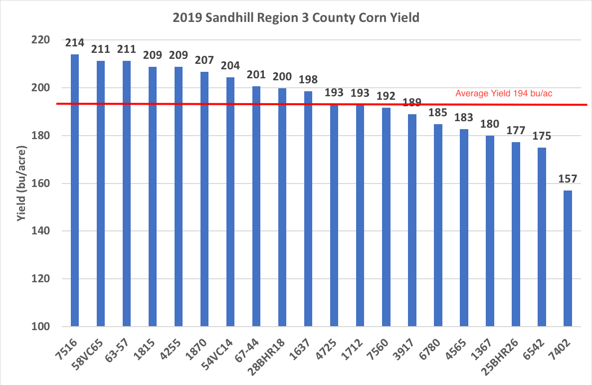Graph showing top yielding corn varieties within the Sandhill Region of North Carolina