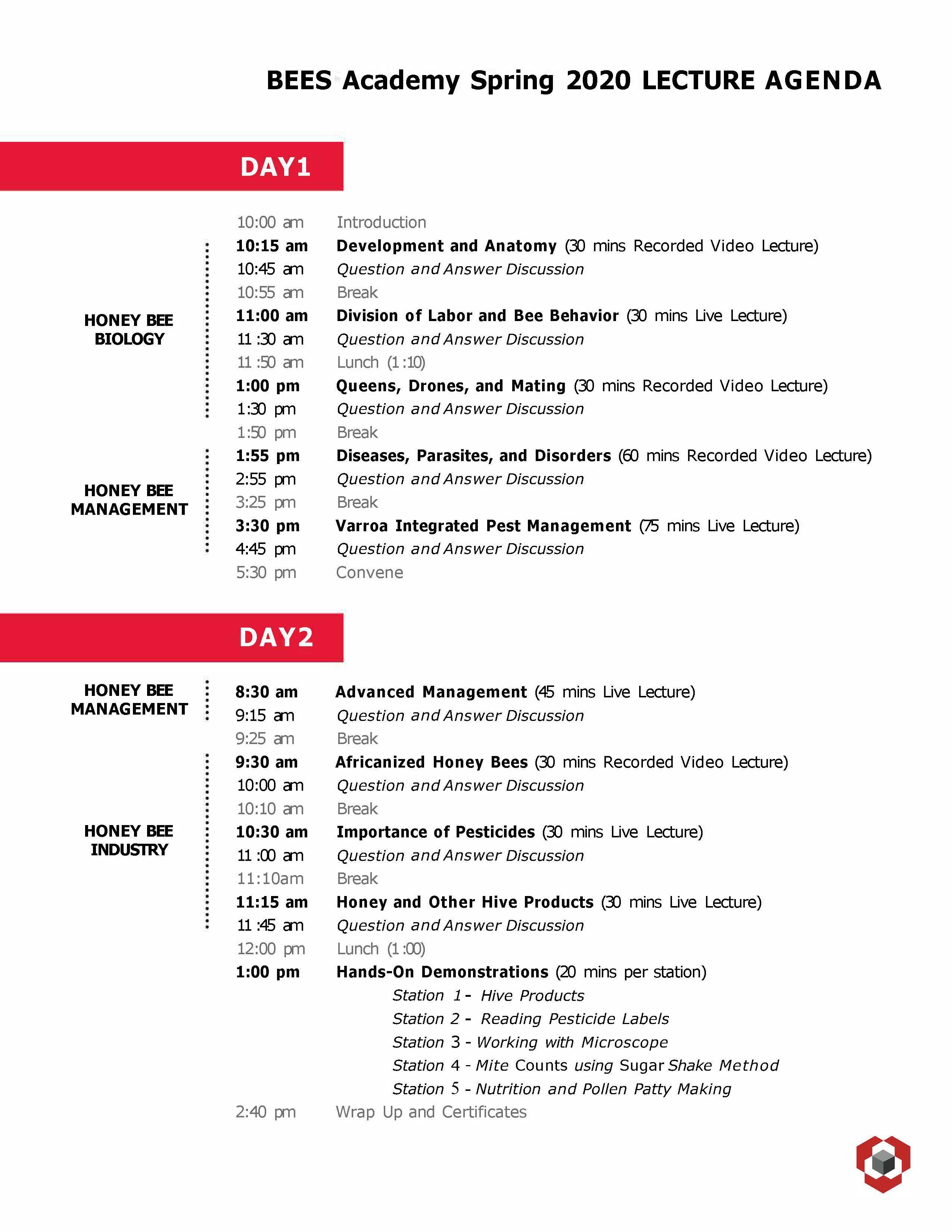 BEES Academy agenda flyer image