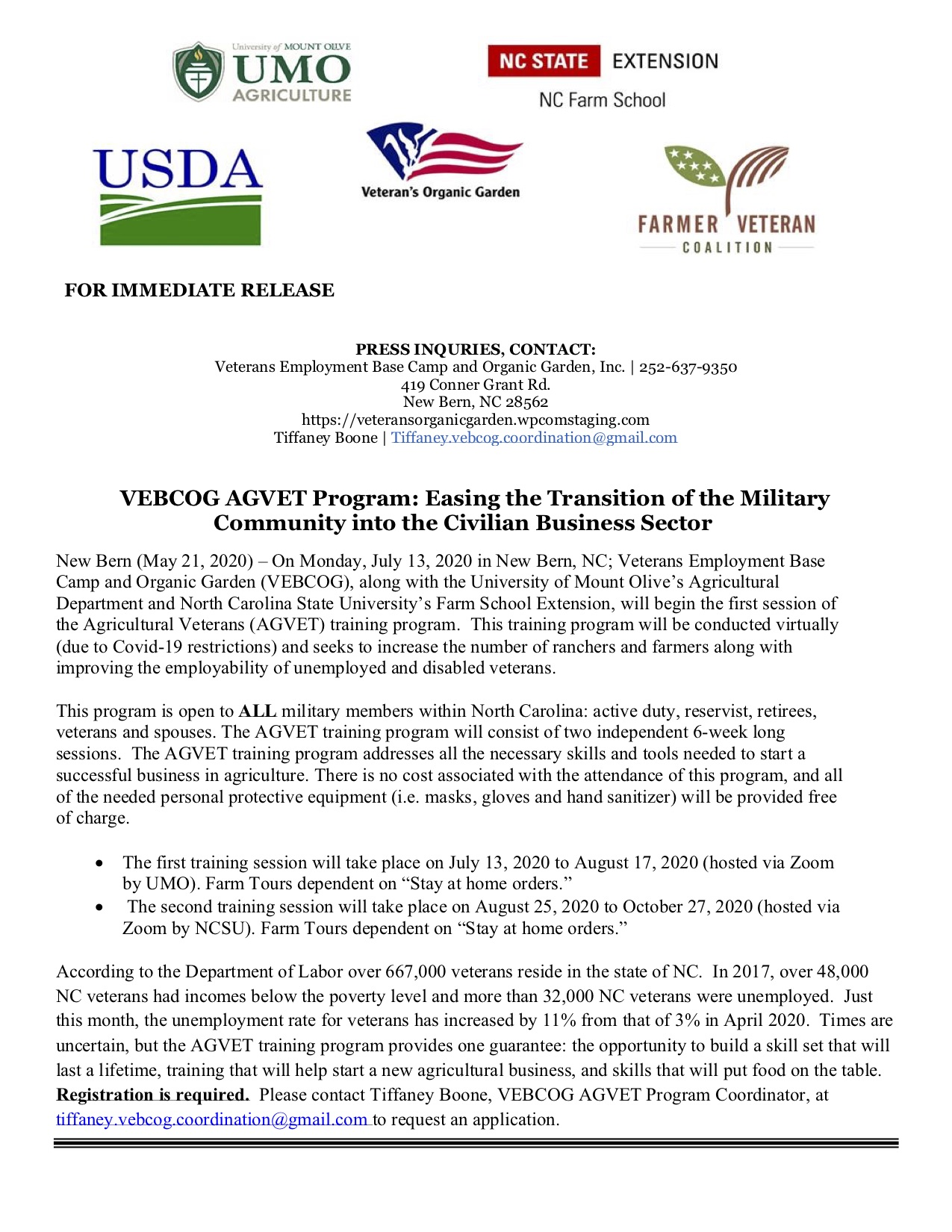 NC Farm School for Veterans Press Release