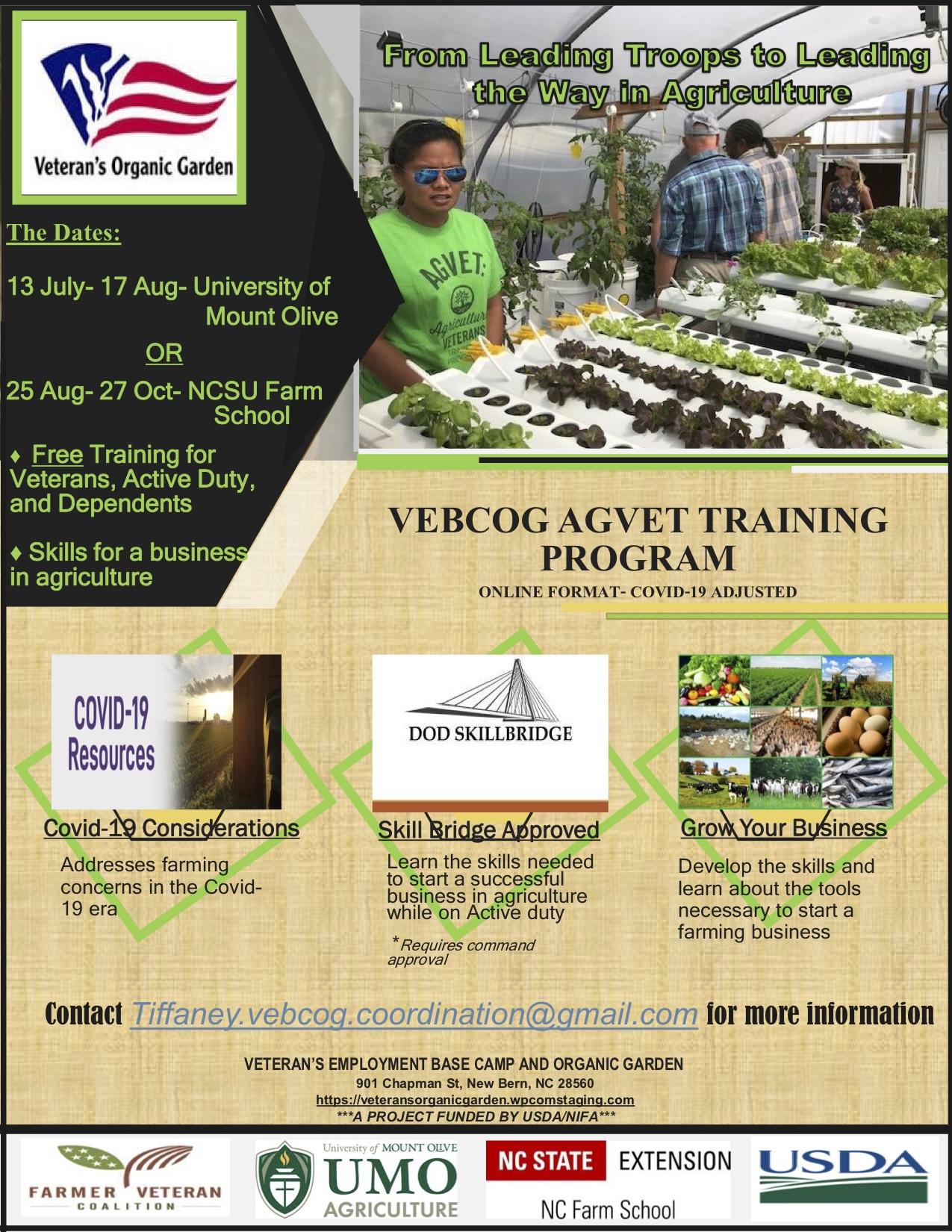 NC Farm School Flyer with program description and dates